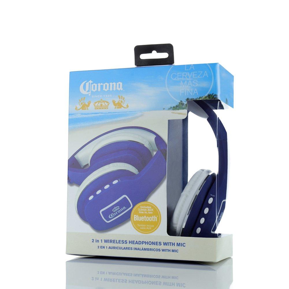 Amazon.com: Corona 2 in 1 Bluetooth Wireless Headphones Blue/White (00701): Electronics