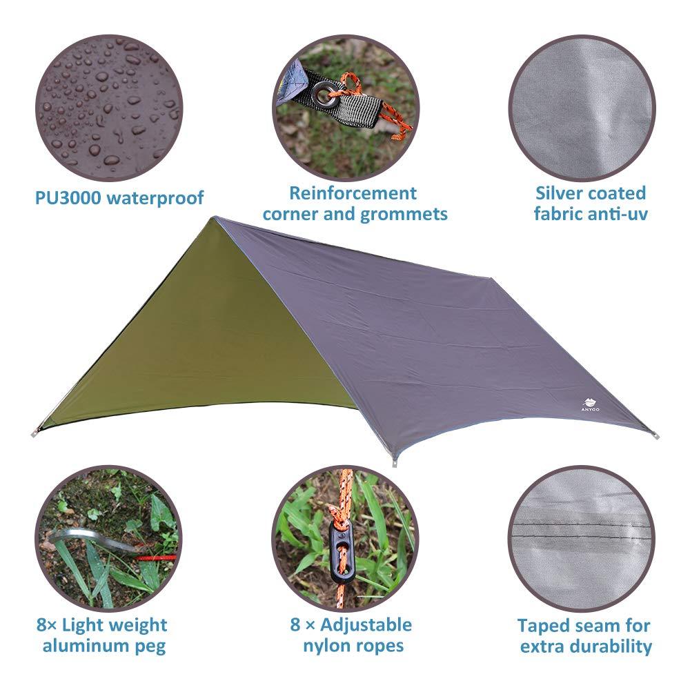 Anyoo Tarp Shelter Impermeable Ligera Hamaca Rain Fly 3 X 3 m Tienda de campaña Sunshade Ripstop Easy Setup Durable portátil Bueno para IR de excursión ...