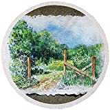 Pixels Round Beach Towel With Tassels featuring ''A Gate To The Ranch Briones Park California'' by Irina Sztukowski