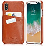 KAVAJ iPhone X Case Leather Tokyo Cognac-Brown, Supports Wireless Charging (Qi), Slim-Fit Genuine Leather iPhone X Wallet Case Leather Bumper Case with Business Card Holder Cover