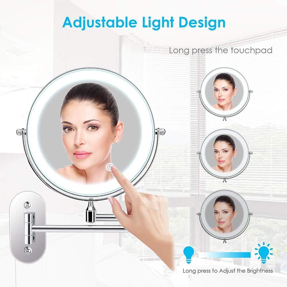 MQSS Espejo de Maquillaje con Luz Led Aumento de 10X Espejo de Aumento de Pared,Espejo de Pared para Cuarto de Ba/ño,360/° Rotaci/ón,Control de Luz de Pantalla T/áctil3X