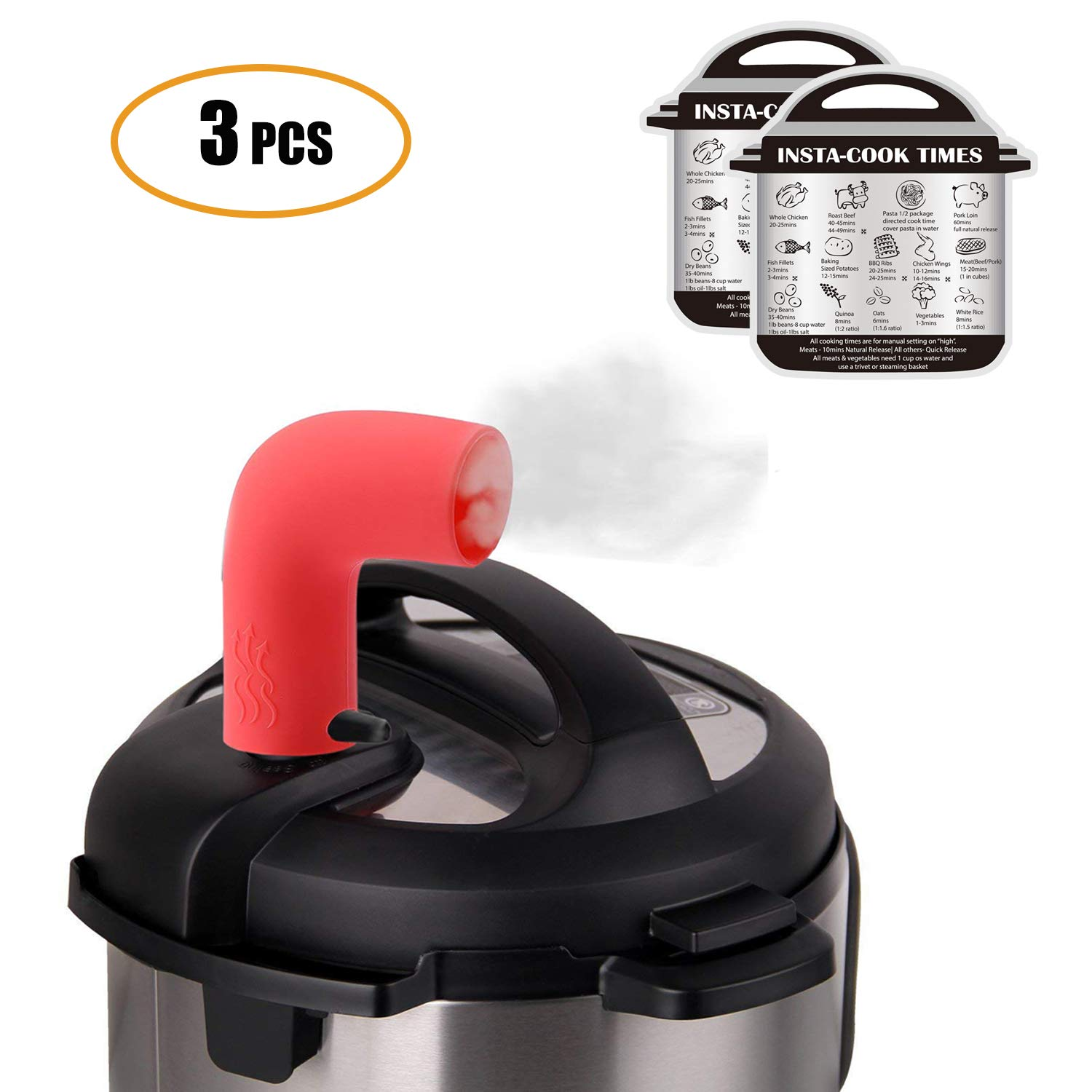 Steam Diverter for Instant Pot,Silicone Steam Release Accessory for Instant Pot Mini,5,6,8 Qt,Duo,Duo Plus,Smart Series include 2 pcs Magnetic Cheat Sheet (1)