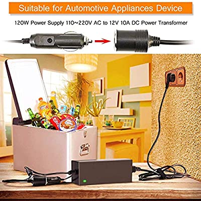 Tvird AC to DC Converter,AC/DC Adapter,120W Power Supply 110~220V AC to 12V 10A DC Power Converter/Transformer, Upgrade Safety Charging Design,Car Cigarette Lighter Socket Charger,Overheating Protect: Automotive