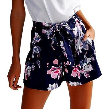 0b9c216b8b95 Damen Shorts,Btruely Frau Blumen Drucken Hohe Taille Spitze Shorts Sommer  Kurze Hosen (Asien