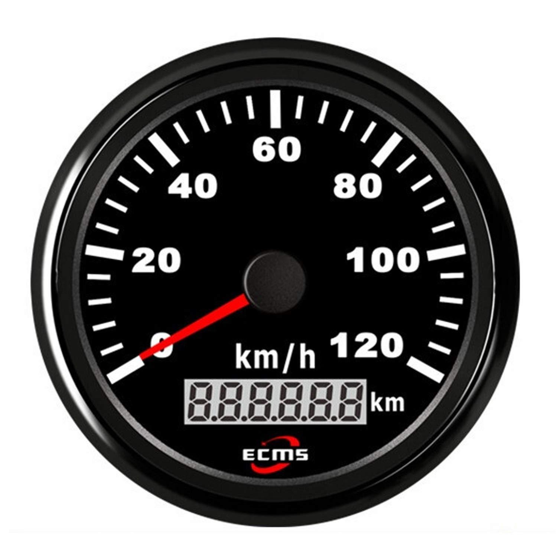 Low Power Consumption Auto Motorcycle 85mm GPS Speedometer 0-120Km/h Odometer Mileage Adjustable Overspeed Alarm Gauge, Waterproof, Lightning-Proof by JUNJIAGAO-gauge
