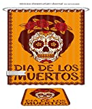 Minicoso Bath Two Piece Suit: Shower Curtains and Bath Rugs Frame With Mexican Skull Girl Shower Curtain and Doormat Set