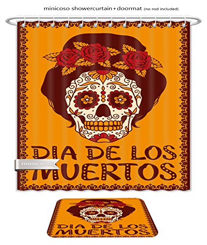 Minicoso Bath Two Piece Suit: Shower Curtains and Bath Rugs Frame With Mexican Skull Girl Shower Curtain and Doormat Set by Minicoso