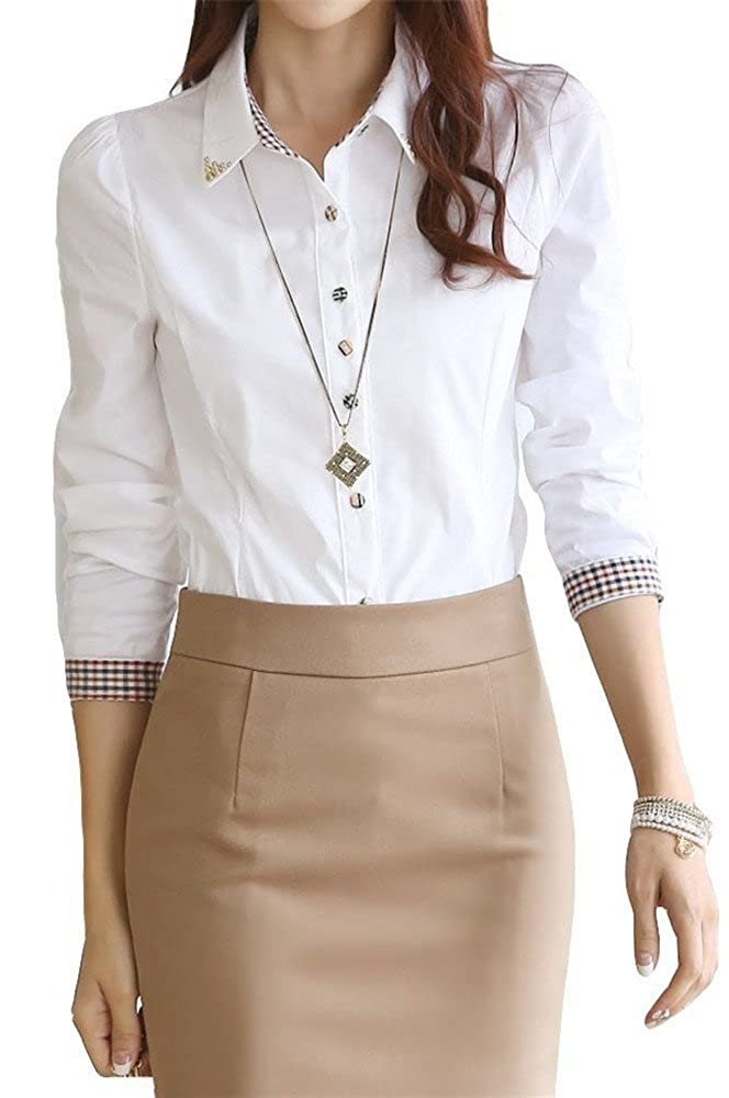 Women's Elegant Rivets Collar Button Up Blouse Shirt Uniform Top M White