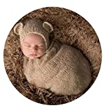 Cute Newborn Baby Boy Girl Outfits Costume Photography Props Hat Sleeping Bag (Khaki)