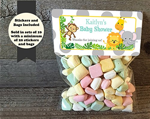 Safari Birthday and Baby Shower Personalized Treat Bags and Stickers, Set of 20, Grey Polka Dot (Safari Treats)