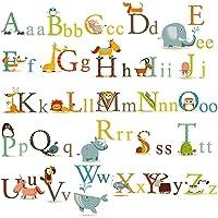 İngilizce Alfabe Dekoratif Duvar Çıkartmaları - Büyük Boy ABC Kız Erkek Çocuk Odası Oyun Yuva Kreş Okul Ev Dekorasyonu için Duvar Çıkartmaları O101