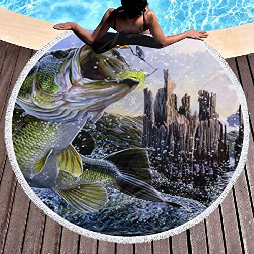 Fullboxy Bass Fishing Giant Fish WallpaperSwim Towel Ultra Soft Lightweight Circular Beach Blanket Water Absorbent Pool Towel 3D Printed Large Size Yoga Mat with Tassels Edge for Men Women 59 Inch