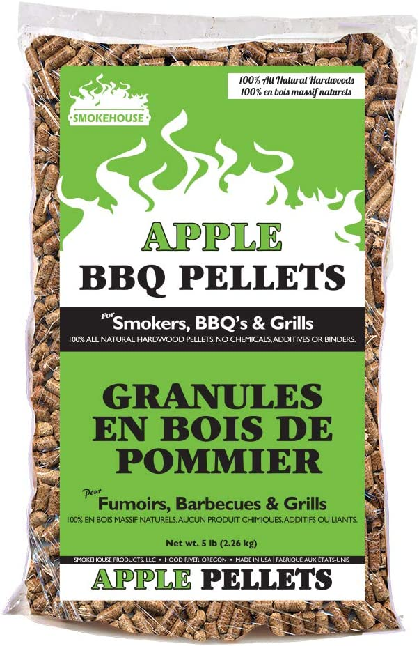 Smokehouse Products 5-Pound Bag All Natural Apple Flavored Wood Pellets,