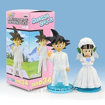 New Japan Dragon Ball Goku Chichi Wedding Pvc Figure Toys 8Cm Set Of ...