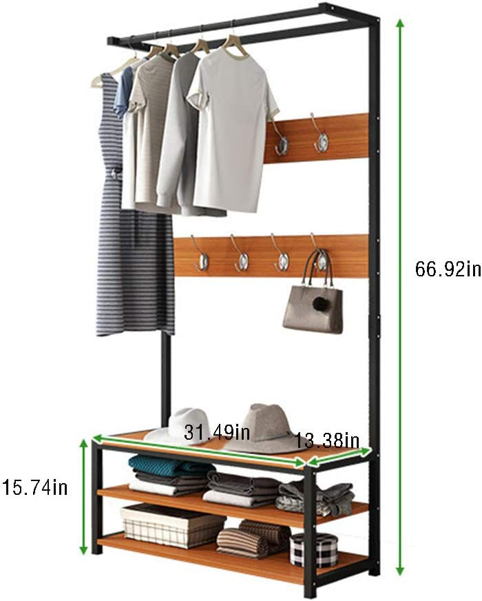 Hall Tree 5 in 1 Design Metal Storage Rack for Your Hallway entryway Bedroom and Dressing Room Easy Assembly Entryway Storage Shelf Coat Rack Shoe Bench