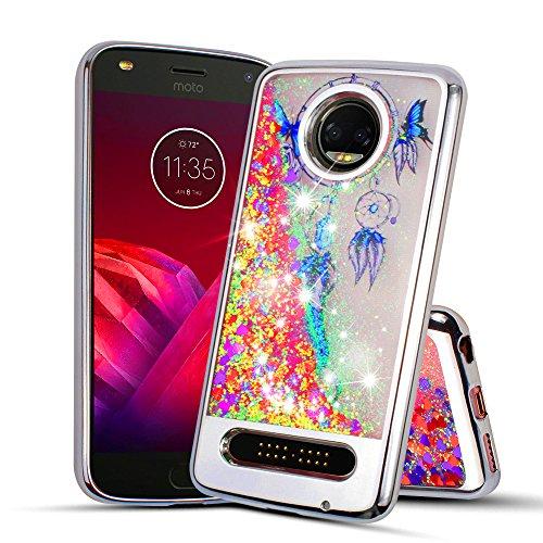 For Motorola Moto Z2 Play/Z2 Force Case Glitter Phone Case Flowing Glitter Sparkling Scratch Shield Skin Slip Guard Grip Wrap Slim Cover (SILVER) ()