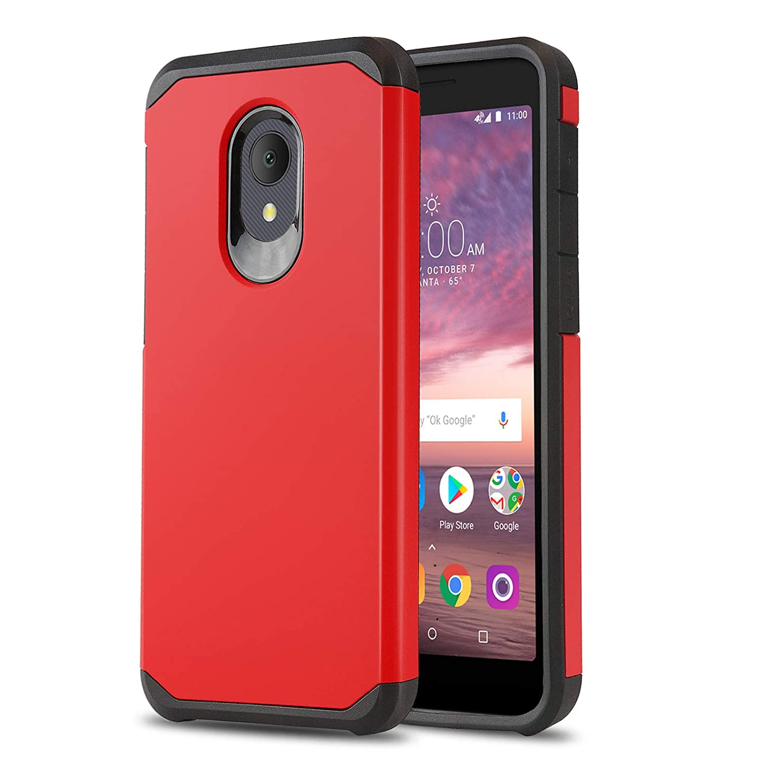Phone Case for [ALCATEL TCL LX (A502DL)], [DuoTEK Series][Red] Shockproof  Cover [Impact Resistant][Defender] for Alcatel TCL LX (Tracfone, Simple