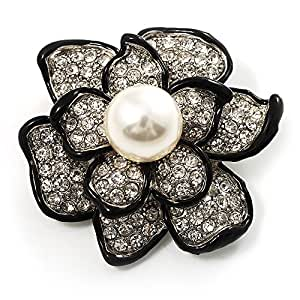 Bridal Synthetic Pearl Crystal Flower Brooch (Black & Silver)