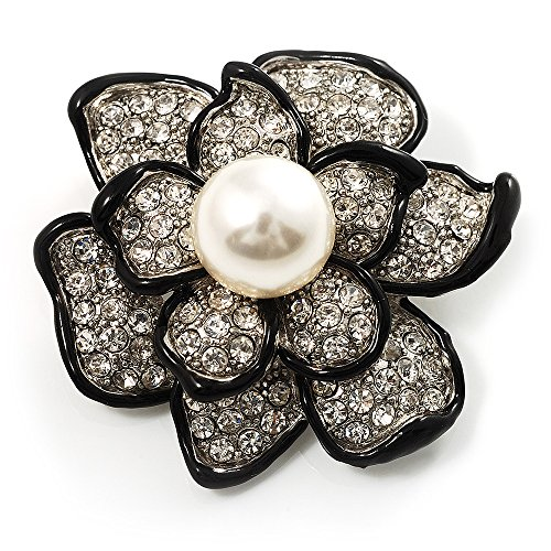 Bridal Synthetic Pearl Crystal Flower Brooch (Black & Silver)