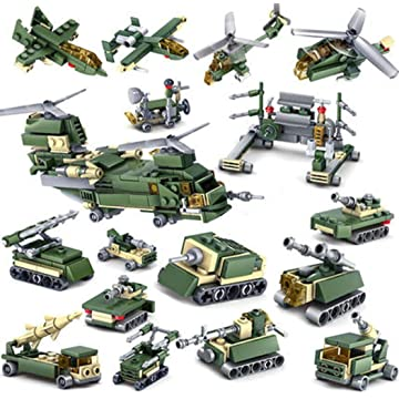 melysUS New Kids Children Puzzle Assembled Building Blocks Cannon Tank 16 in 1 Toy Set Stacking Blocks