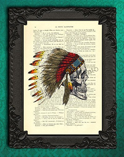 Skull indian headdress artwork, feather hat poster, cranium wall hanging decor, dictionary art print, cool native american - Cool Headdresses