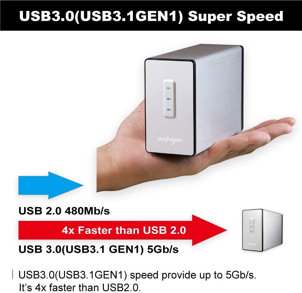 Amazon Com Archgon Mh 2622rd U3 2 5 Hdd Ssd Sata To Usb 3 0 Dual Bay Raid Enclosure Usb 3 0 Support Sata3 6 0gbps Hdd Transfer Speed Computers Accessories