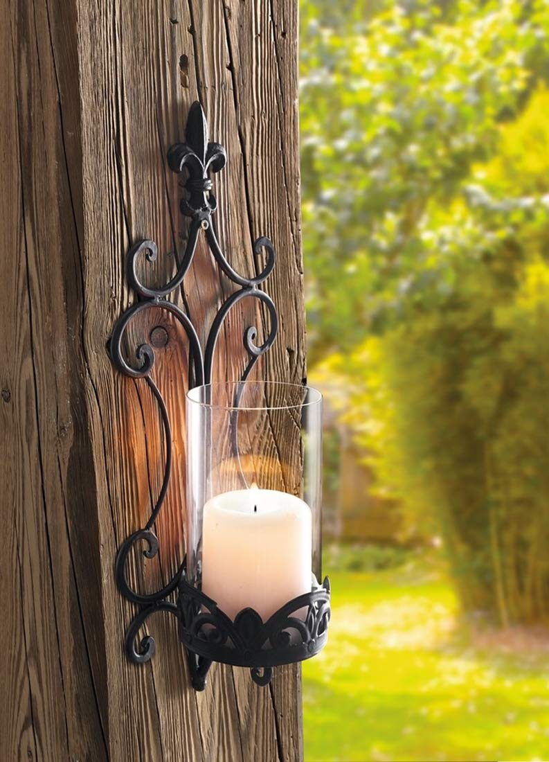 PierSurplus 17.75 in Fleur De Lis French Hurricane Metal Wall Mount Candle Holder Product SKU: CL229303