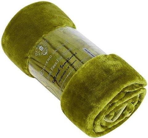 grandeur simple ou double le canap/é-lit Couverture Hugg en fausse fourrure imitation vison pour le lit 100//% polyester//polyester Fern Double