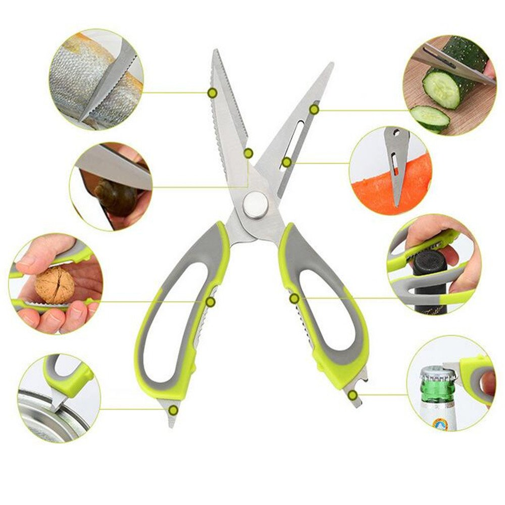 chuangquan GREEN Multifunction Stainless Steel Kitchen Sissors Quick and Easy Cooking Can Openner,Nut Cracker with Magnetic Holder