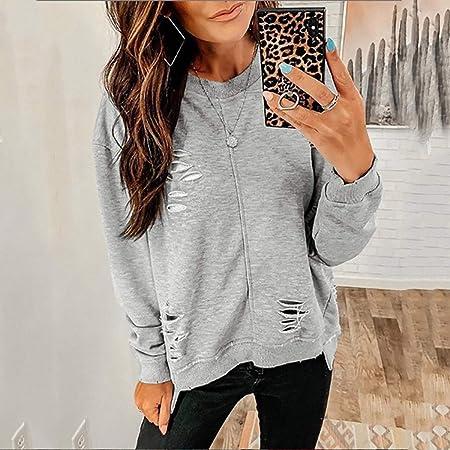 Mujer camiseta,🍒 Madeuf 🍒 Mujer Suéter Jersey Camisas Manga ...