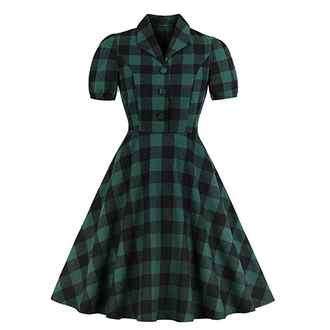 1940s Fashion Advice for Short Women Wellwits Womens Green Check Button Down Pocket 1940s Vintage Shirt Dress $21.98 AT vintagedancer.com