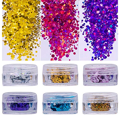 Chunky Glitter for Face, Hair and Festival - Body Glitter Face Glitter Mix - Versatile Festival Accessories, Rave Glitter Sequins and Beauty Makeup (6 pack)