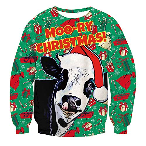 RAISEVERN Unisex Ugly Christmas Cow Sweater Print Animal Hipster Crewneck Pullover -