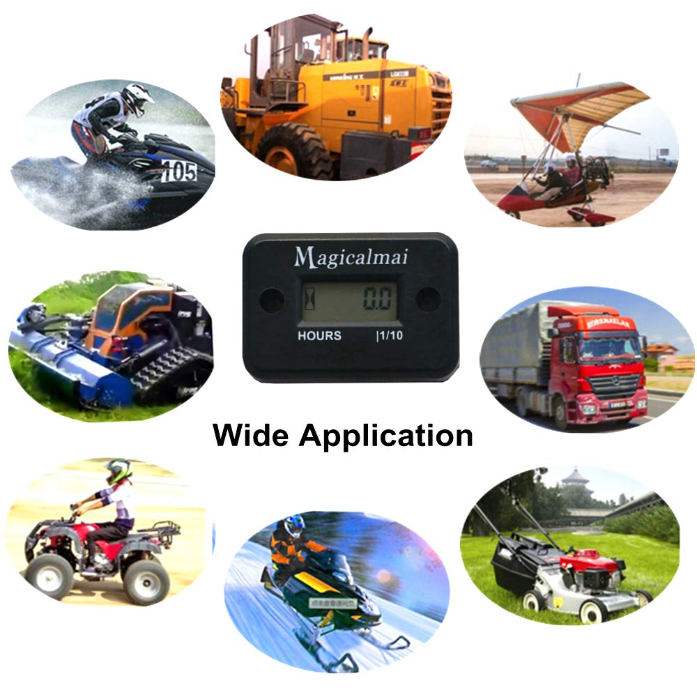 Magicalmai Inductive Hour Meter for Gas Engine Lawn Mower Dirt Bike Motorcycle Motocross Snowmobile Karting Marine ATV Boat Outboard Motor Generator Waterproof/Hour Meters