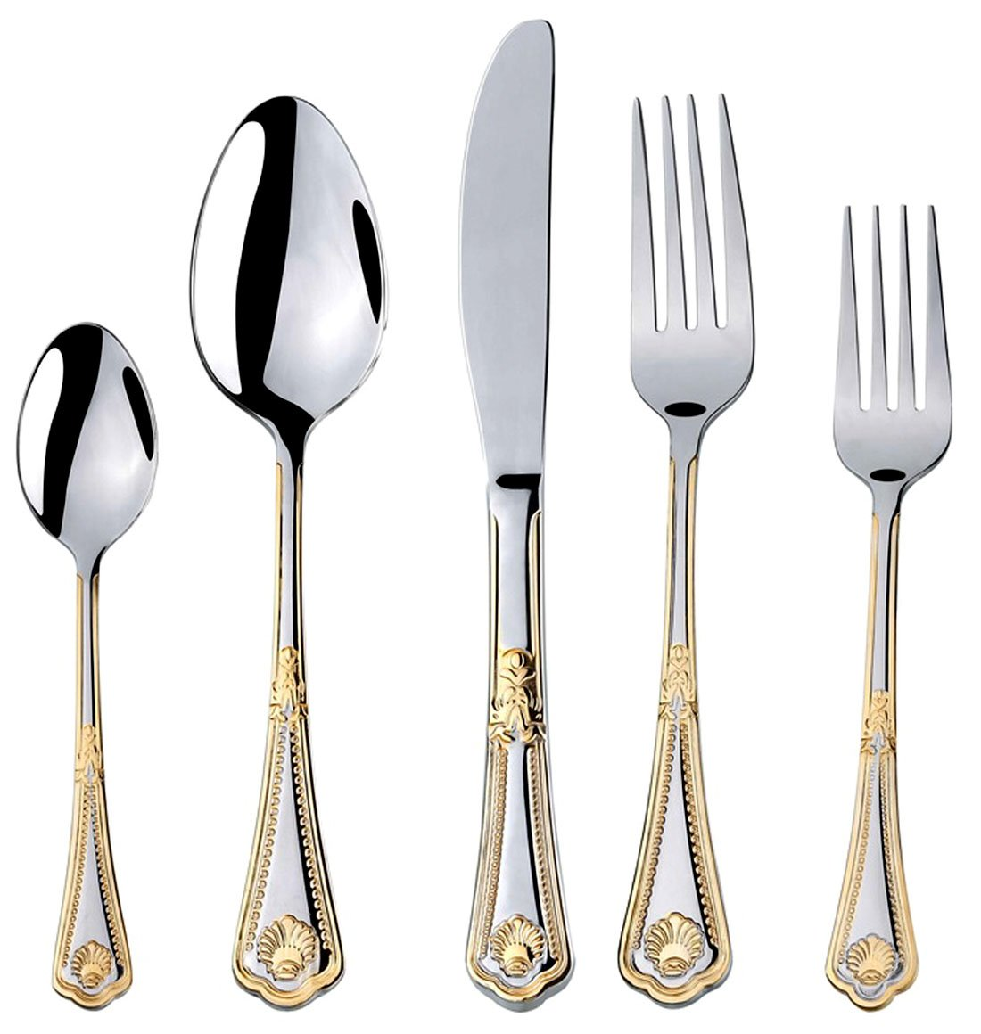 Amazon.com | Venezia Collection 40-Pcs. Fine Flatware Set Silverware Cutlery Dining Service for 8 Premium 18/10 Surgical Stainless Steel 24K Gold-Plated ...  sc 1 st  Amazon.com & Amazon.com | Venezia Collection 40-Pcs. Fine Flatware Set ...