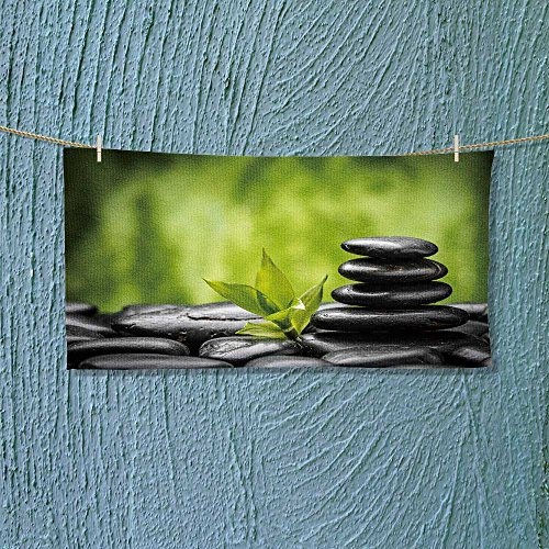 aolankaili Photo Or Text Image DIY Personalized Custom Towels/Hand Towel Acrylic for Beach, Pool or Bath! Unisex Towels!(Zen Basalt Stones and Bamboo)