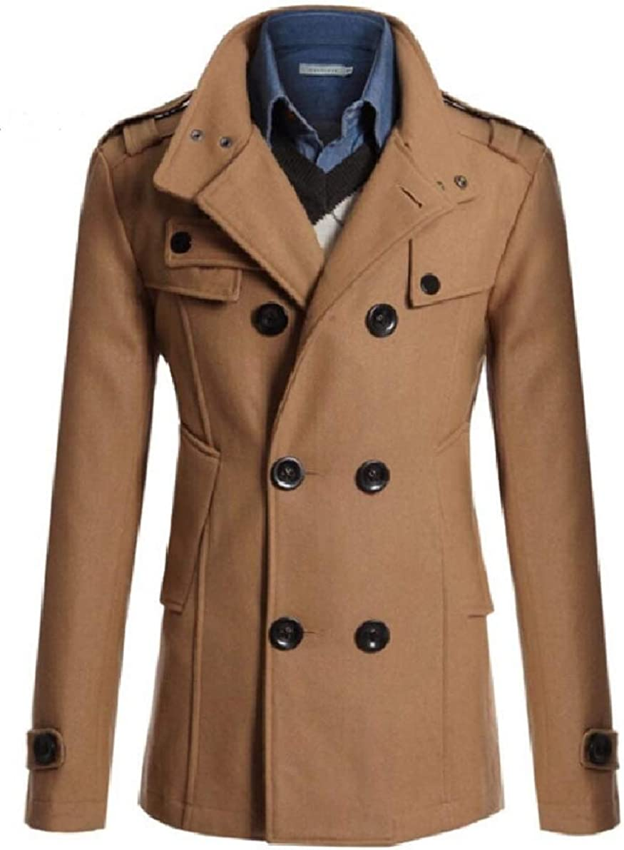 ONTBYB Mens Mid Long Solid Color Double Breasted Casual Slim Trench Coat