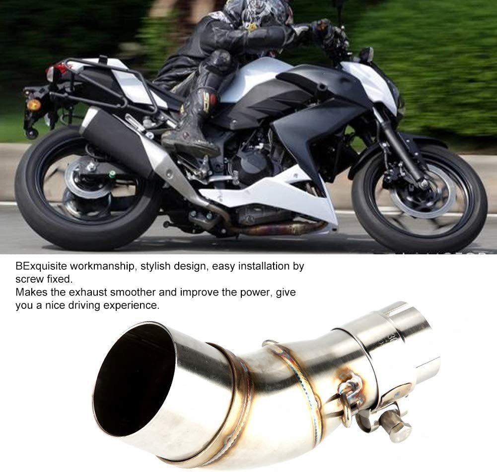 Suuone Exhaust Muffler Pipe,Motorcycle Modification Exhaust Middle Link Pipe Muffler for Z250 300 250r