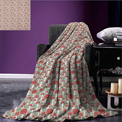 Doodle Printed blanket Poisonous Amanita Mushroom Pattern with Foliage and Berry Silhouettes minion blanket Pale Sage Green Red White size:59
