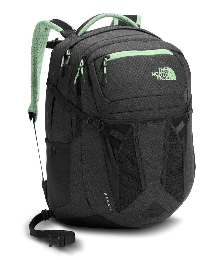 The North Face Women's Recon Backpack - Asphalt Grey Dark Heather & Subtle Green - OS