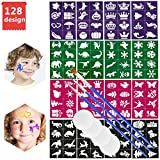 Face Paint Stencils Reusable,Emooqi 128 Pieces Reusable for Painting Faces Body Paint Stencils+3 Brushes+4 Sponges Pliable for Masquerade,Stage Performance,Christmas and Birthday Party