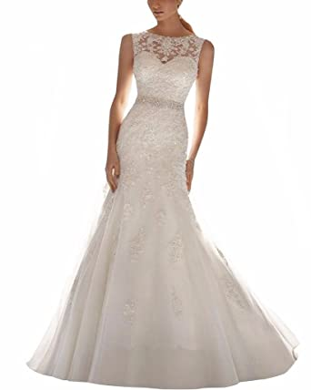 ScelleBridal Latest Sleeveless Lace Appliques Mermaid Bridal Dress ...