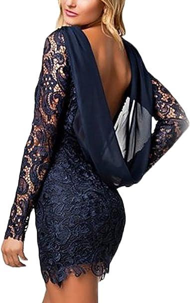 HX fashion Damen Cocktailkleid Kurz Spitze Stitching Chiffon Langarm  Rückenfrei Abendkleid Elegant Eng Festlich Vintage 8Er Sommer  Abschlussball