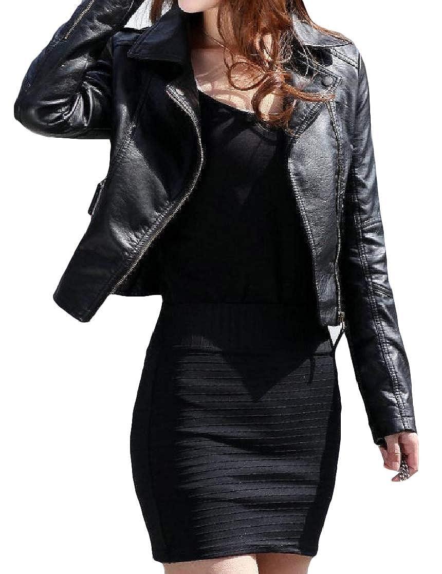 YUNY Womens Slim Lapel Zipper Stylish Mini Solid Long-Sleeve Jacket Overcoat Black M