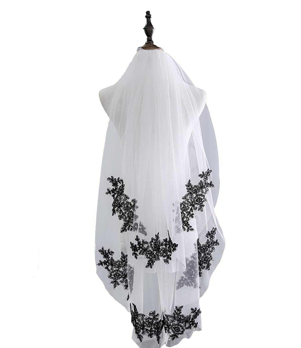 Veilbridal Soft Tulle Black and White Lace Applique Mantilla Veils Bridal Wedding Veils with Comb 2 Tiers