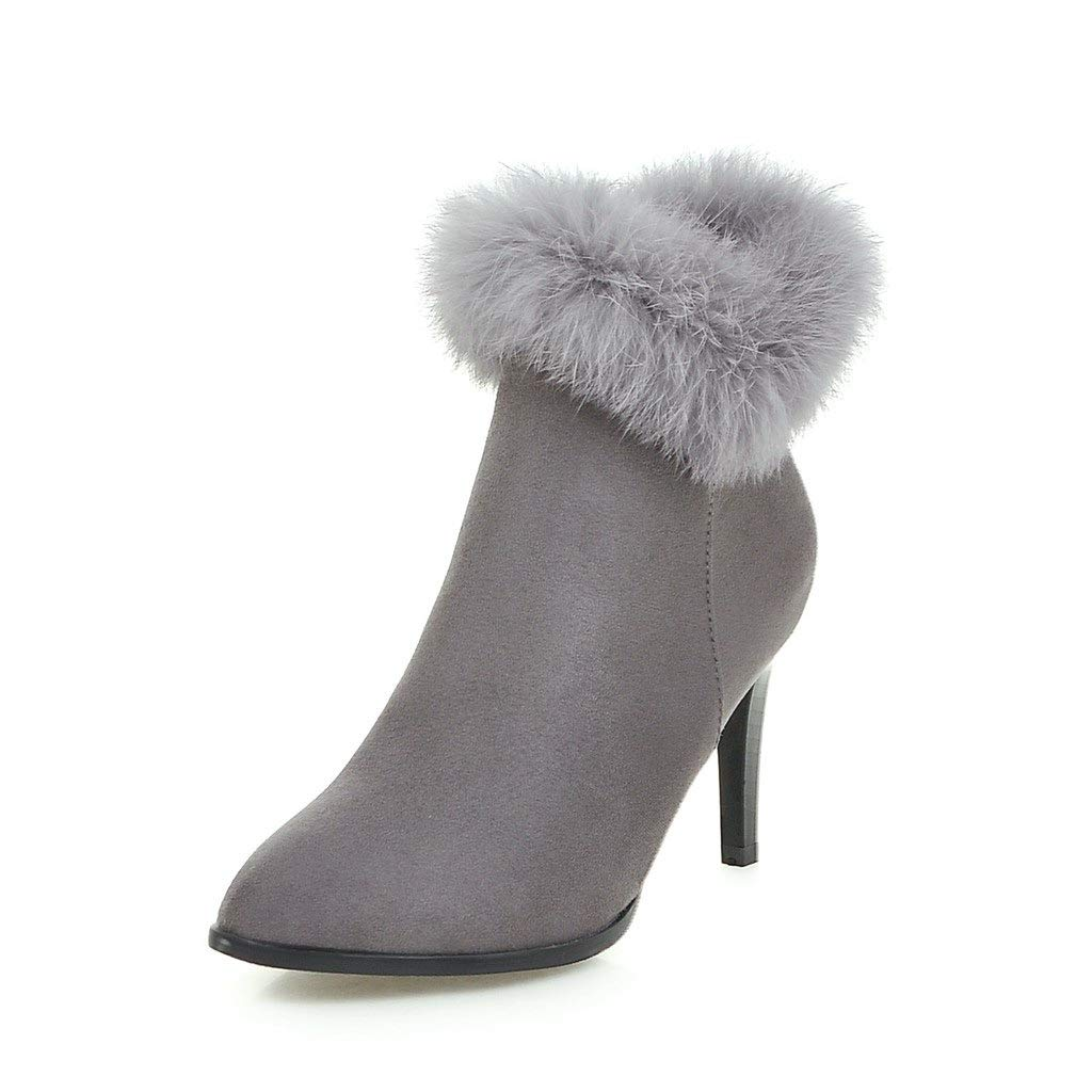 HOESCZS Stiefel Martin Große Größe Frauen Schuhe Matt Spitzen Stiletto Stiefel Echte High Heel Damen Stiefel