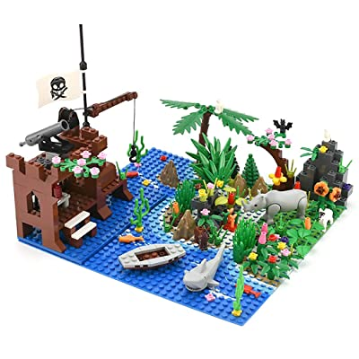 Yamix Pirate Island Building Block Parts Rainforest Plants Trees Flowers Scenery Animals Building Bricks Toy Set with Base Plates Compatible with All Major Brands: Toys & Games