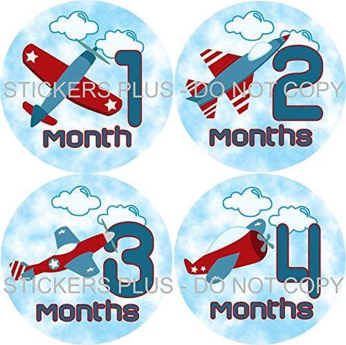 Baby Boy Month Stickers Monthly Baby Milestone Stickers Airplane Air Plane Jet in Sky Red White Blue