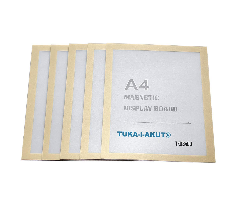 TKD8400-A4-5x Schnelles Wechseln von Aush/ängen Einstecktasche Infotasche Blatthalter TUKA-i-AKUT 5st Aufklappbarer Magnetrahmen Farbe Silber A4 Info-Rahmen Selbstklebend mit Magnetverschluss