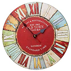 SkyNature Colorful Decorative Wooden Wall Clock with Roman Numerals Country Style Silent Non-Ticking for Living Room (14 inch Old Town)